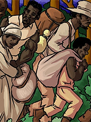 Kept to her duty of paying the slaves from leaving the plantation - Manza by Illustrated interracial