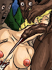 A beautiful young white woman sucking on a black slave's cock - Manza by Illustrated interracial