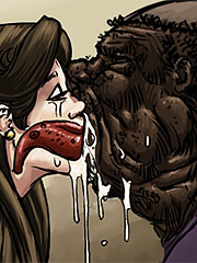 Nicolle had his black cock between her lips sucking hard - Slut for ugly black men by Illustrated interracial