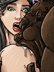 She kept her mouth on it holding the beast with both hands - Produce Man by Illustrated interracial